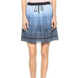 Vince blue ombré stripe silk mini skirt
